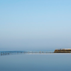 Reflection by Alda Sykes - Landscapes Waterscapes ( railing, water, reflection, sky, blue, lighthouse, sea, ocean )