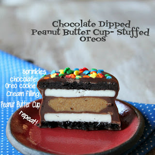 Chocolate Dipped Peanut Butter Cup Stuffed Oreos.