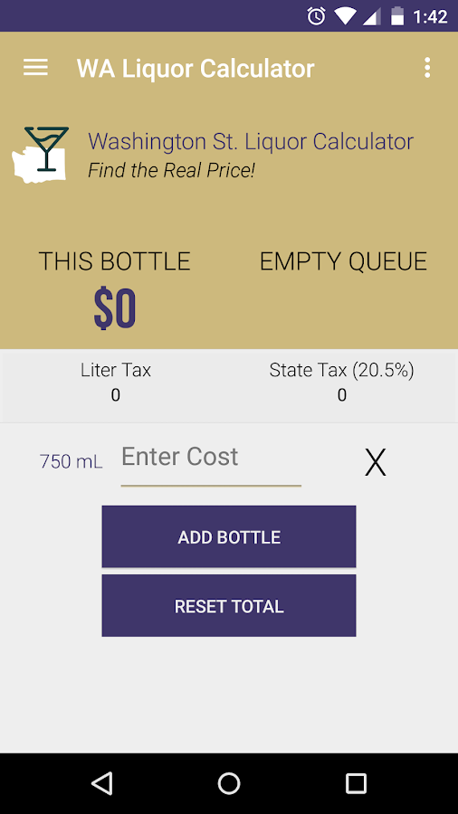 WA State Liquor Calculator- screenshot