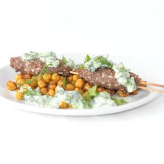 Lamb Kofte Kebabs, Sautéed Chickpeas and Cucumber Yogurt Sauce