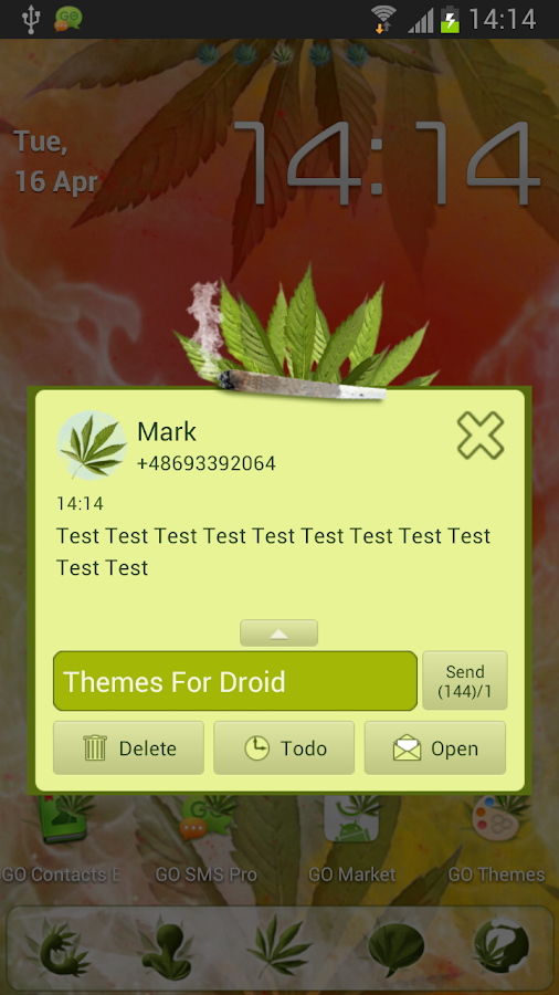 GO SMS Pro Weed Ganja Theme - screenshot