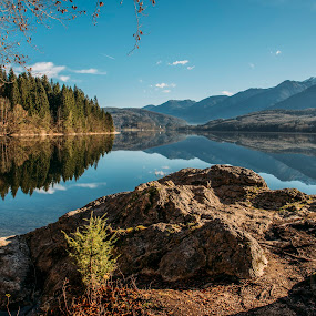 Mountains and Forest Lake Reflection by Aleš Krivec - Landscapes Mountains & Hills ( water, old, reflection, bench, grass, beautiful, lake, forest, landscape, sky, nature, season, day, relax, tranquil, relaxing, tranquility )