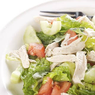 Poached Chicken Salad with Chopped Vegetables.