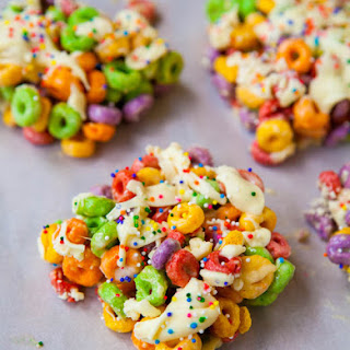 Malibu Rum Fruit Loops Treats with White Chocolate and Sprinkles (no-bake).