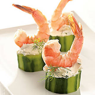Shrimp in Cucumber Cups.
