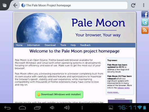 Pale Moon web browser