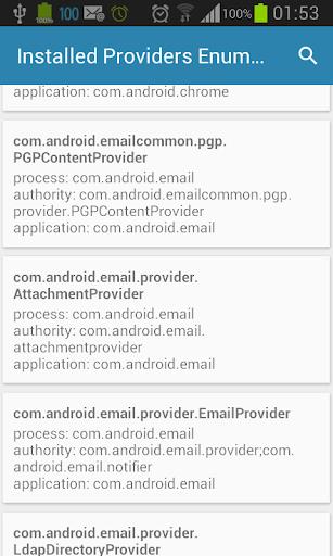 【免費程式庫與試用程式App】Installed Providers Enumerator-APP點子