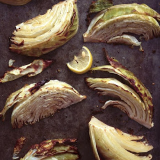 Roasted Green Cabbage Wedges with Olive Oil and Lemon.