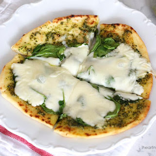Spinach Pesto Pizza With Fresh Mozzarella