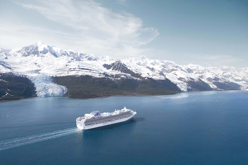 One of the many beautiful destinations that Sapphire Princess cruises through is scenic College Fjord, Alaska.