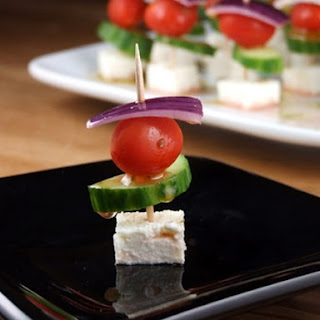 Easy Greek Appetizer Skewers.