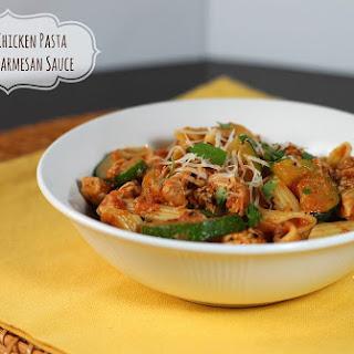 Zucchini Chicken Pasta in Tomato Parmesan Sauce