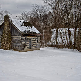 Old Log Cabin by Hugh Hazelrigg - Buildings & Architecture Other Exteriors ( indiana, building, winter, bloomington, exterior, snow, architecture )
