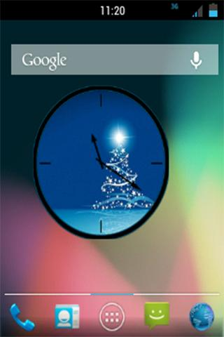 Blue Christmas Analog Clock - screenshot