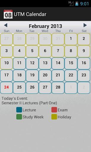 UTM Calendar
