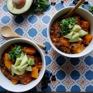 Sweet Potato, Black Bean & Bulgar Soup