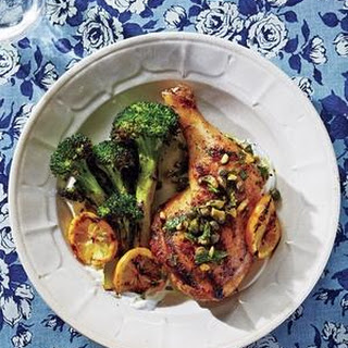 Grilled Chicken Legs and Broccoli with Pistachio-Herb Sauce