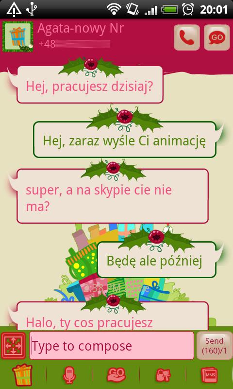 GO SMS Christmas Gifts Theme - screenshot