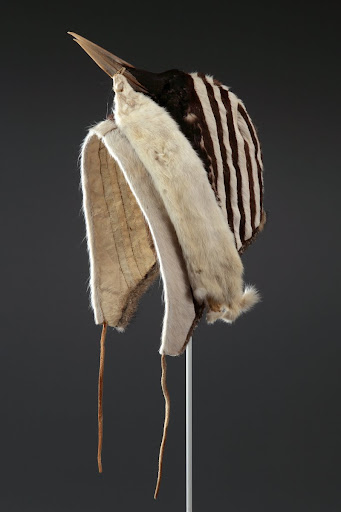 Inuinnaq dancing cap topped with a loon skin, worn at drum dances