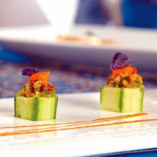 Sea Bass Ceviche in Cucumber Cups.
