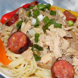 Andouille and Chicken Creole Pasta.
