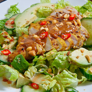 Chicken Satay Salad in Spicy Peanut Dressing.
