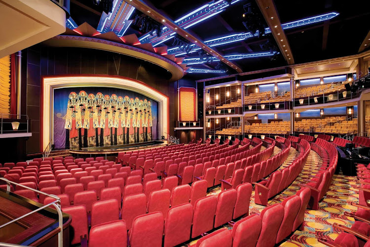 Freedom of the Seas' multi-level Arcadia Theater features contemporary musical productions, drama, cabaret and other nightly entertainment.