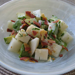 Avocado and Asian Pear Salad with Buttermilk Blue Cheese Dressing.