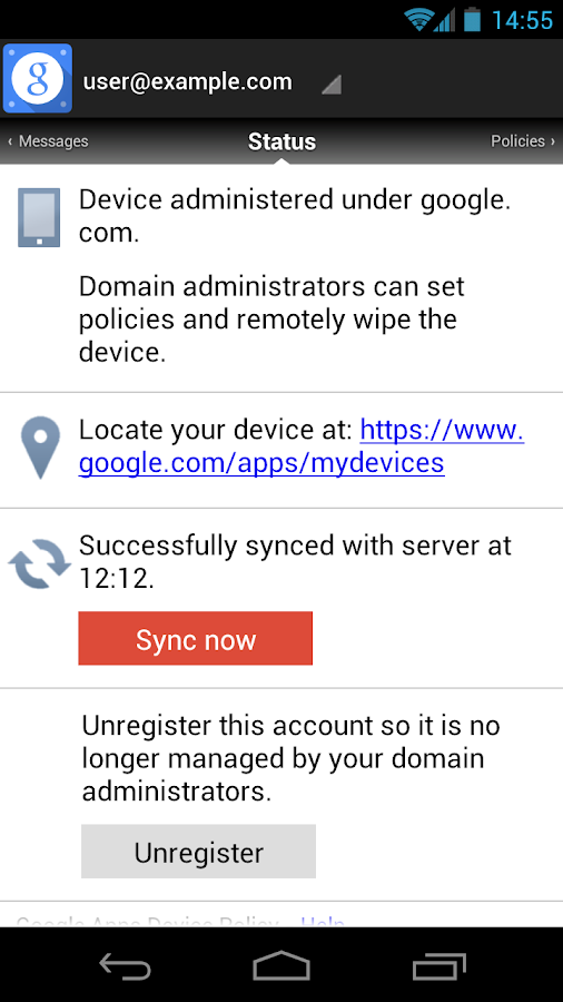 Google Apps Device Policy - screenshot