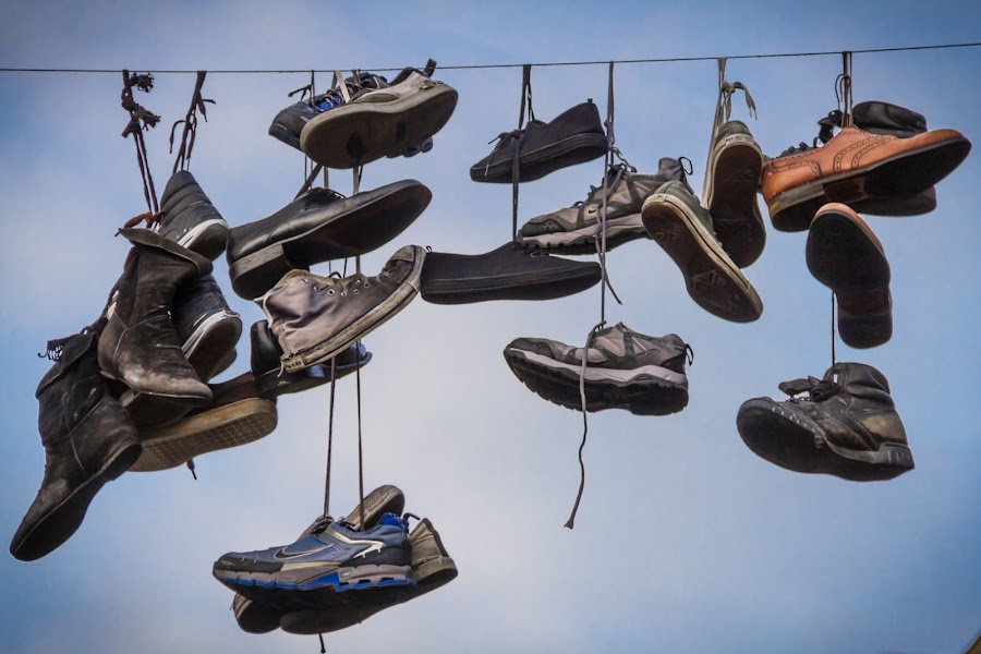 Hanged by Arti Fakts - Artistic Objects Clothing & Accessories ( shoes, hanging, sky, gand, belgium, hang, artifakts, hanged, , artistic, object )