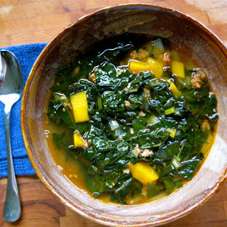 Spicy Kale, Chorizo and Squash Soup