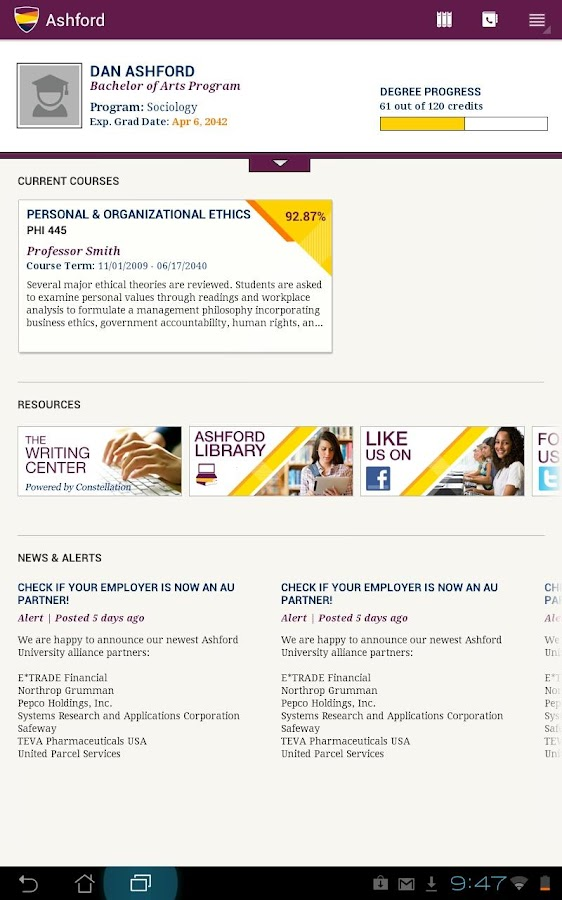 Ashford University Tablet- screenshot