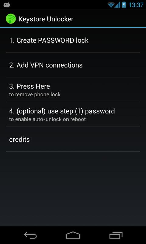 Keystore Unlocker (root only) - screenshot