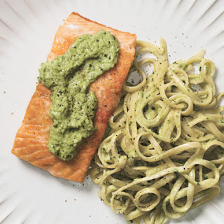 Seared Salmon with Linguine and Ramp Pesto.