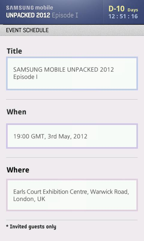 SAMSUNG mobile UNPACKED 2012 - screenshot
