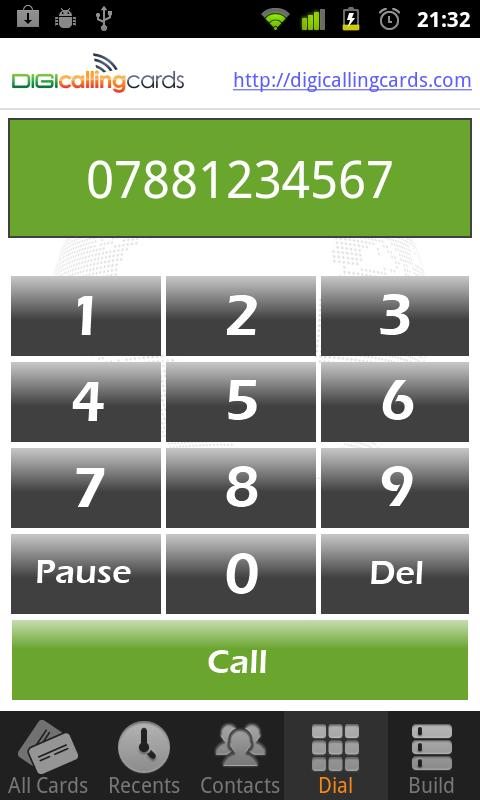 Digi Calling Cards Dialer- screenshot