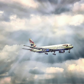Landing by Laura Prieto - Transportation Airplanes ( clouds, landing, airports, airplane, aircraft,  )