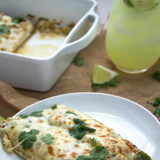 Corn & Kale Salsa Verde Shrimp Enchilada's