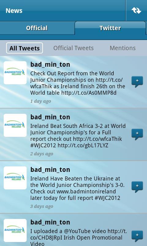 Badminton Ireland App- screenshot