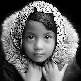 by Yudi Prabowo - Black & White Portraits & People ( child, person, b&w, woman, beautiful, portrait, eyes )