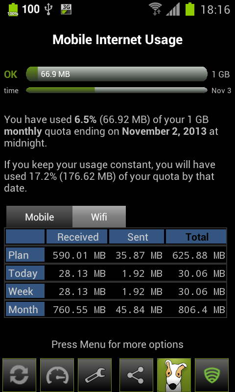 3G Watchdog - Data Usage - screenshot
