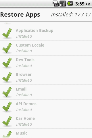 Application Backup - screenshot