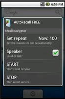 Screenshot of AutoRecall & auto dial, redial