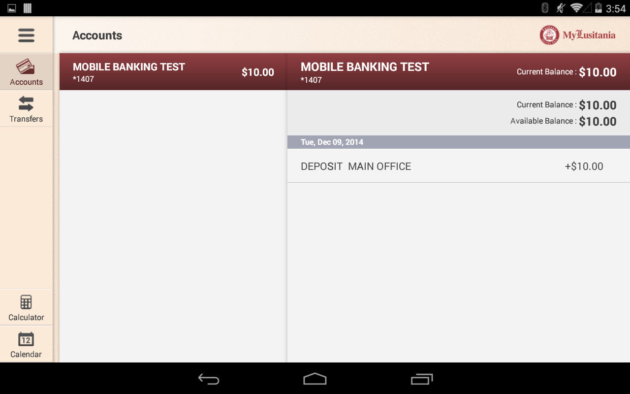 Lusitania Savings Bank Tablet- screenshot