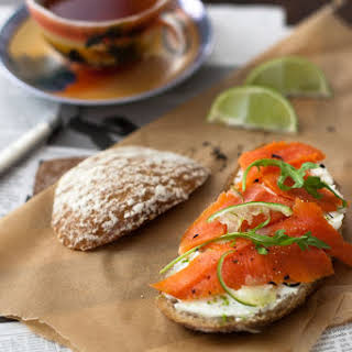 Lapsang Souchong Cured King Salmon with Ginger Lime Cream Cheese.