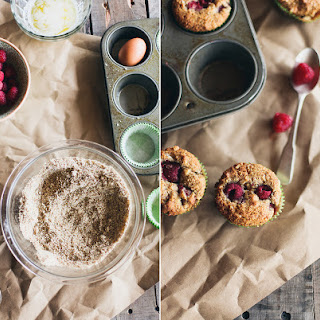 Raspberry & White Chocolate Honey Almond Meal Muffins