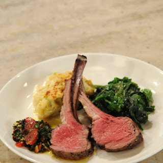 Salt and Pepper Crusted Rack of Lamb with Blood Orange and Cherry Chimichuri