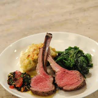 Salt and Pepper Crusted Rack of Lamb with Blood Orange and Cherry Chimichuri.