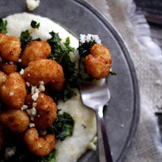 Honeyed Shrimp with Crispy Kale and Gorgonzola Grits