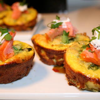 Zucchini & Goat Cheese Frittatas with Smoked Trout.